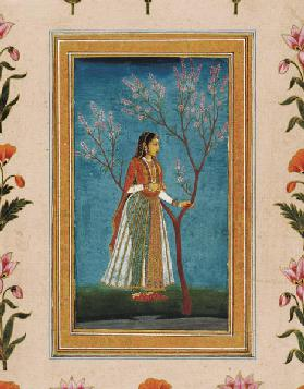 Lady standing by a tree in blossom, from the Small Clive Album 18Jh