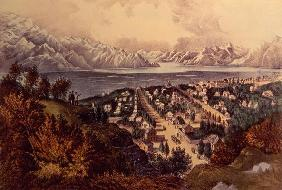 Great Salt Lake, Utah (colour litho) 19th