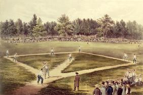 The American National Game of Baseball - Grand Match at Elysian Fields, Hoboken, NJ, 1866 (colour li 18th