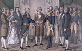 The First Meeting of General George Washington (1732-99) and the Marquis de La Fayette (1757-1834) P 04th-