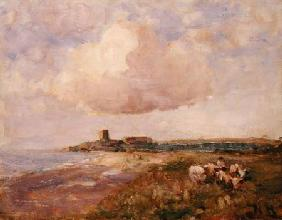Irish Coastal View with Boy and Cattle