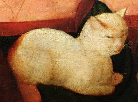 A white cat, detail from ''Four People Laughing at the Sight of a Cat'' (detail of 221426)