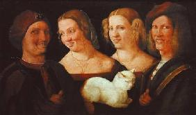 Four People Laughing at the Sight of a Cat
