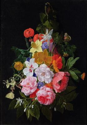 A Swag of Roses and other Flowers Hanging from a Nail (oil on canvas)