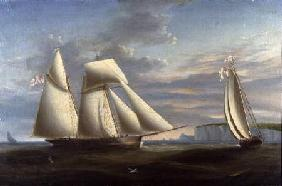 A topsail schooner and a schooner of the Royal Yacht Squadron off the coast of Dorset (panel)