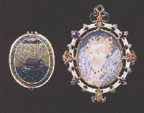 """Armada Jewel"", miniature of Queen Elizabeth I enclosed in a jewelled case, outside of lid depicts a 1585-90"