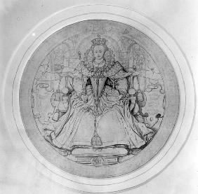 Design for the obverse of Queen Elizabeth I''s Great Seal of Ireland, c.1584 (pen, ink & graphite on