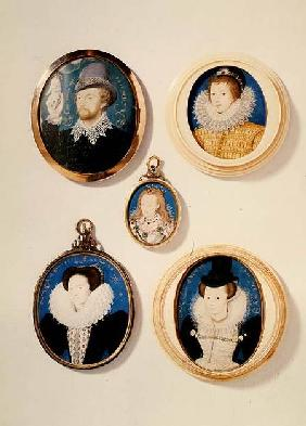Miniatures, from L to R, T to B: Man with a Hand from a cloud; Unknown Young Man, 1588; Mrs Holland Duchess of