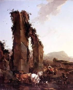 Peasants with Cattle by a Ruined Aqueduct c.1655-60