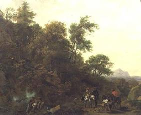 Wooded Landscape with Soldiers Escorting Prisoners 1656