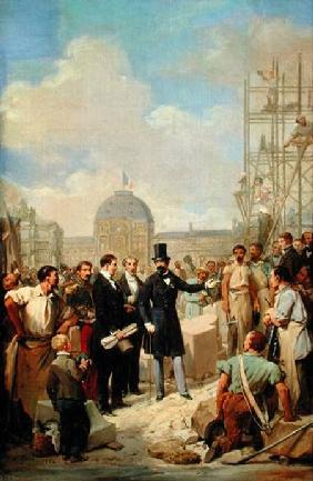 Study for Napoleon III (1808-73) Visiting the Works at the Louvre 1854