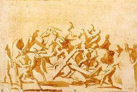 Study of Christ Carrying the Cross (chalk and wash on paper)