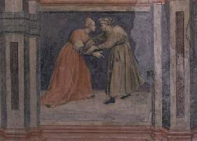 The meeting of a man and a woman, from 'Scenes of a Private Life' cycle after Giotto c.1450