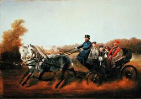 Tsar Alexander II (1818-81) Driving with his Sons in Zarskoje Selo 1850s
