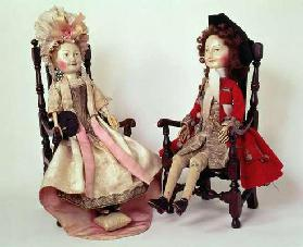 31:Lord and Lady Clapham, wooden dolls made in the William and Mary period, late 17th, c.1680s (see 19th