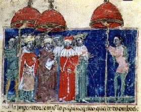 Codex Correr I 383 Pope Alexander III (1105-81) presents the parasol to Doge Sebastiano Ziani, Venet