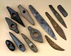 Collection of Neolithic to early Bronze Age weapon heads including a Danish flint leaf-shaped dagger