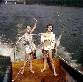 Actresses Ludmilla Tcherina and Andree Debar on A Boat C. 1956