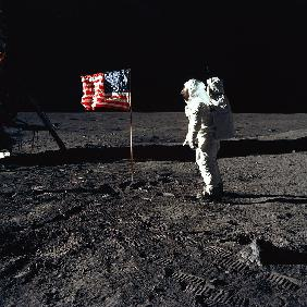 American Astronaut Edwin Buzz Aldrin walking on the moon during Apollo 11 mission July 20, 1