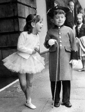 Anna and Anthony the children of Princess Lee Radziwill sister of JackieKennedy here before theatre  June 27, 1