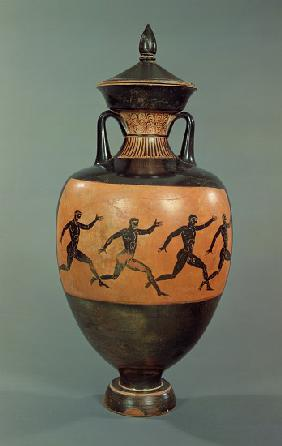 Attic black-figure Panathenaic amphora decorated with running men, Greek 375-370 BC
