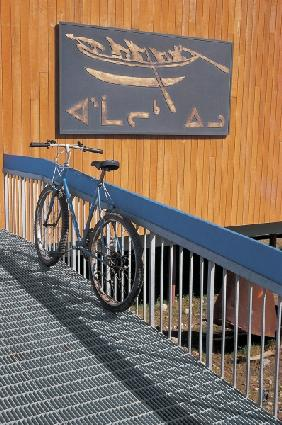 Bicycle at barrier , Baffin Island , Canada (photo)