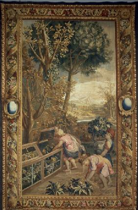 Boys as gardeners / Tapestry, C18