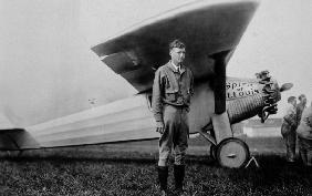 Charles Lindbergh American aviator in front of his plane Spirit of Saint Louis taking off from Roose May 20, 19