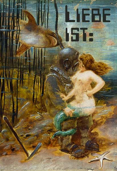 Deep Sea Diver with a Mermaid and a Shark mit Worten