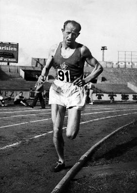 Emil Zatopek, czech runner during a 5000m race May 31, 19