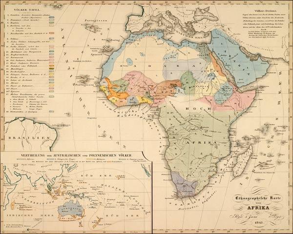 Karte Afrika.Ethnographische Karte Afrika 1845 Artist Als Kunstdruck Oder