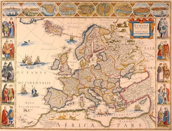 europa karte von wilhelm blau 1663 artist artist als kunstdruck oder handgemaltes gem lde. Black Bedroom Furniture Sets. Home Design Ideas