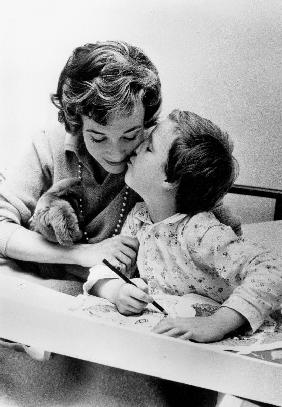 French Actress Micheline Presle with daughter Tonie Marshall August 9,