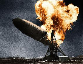 German dirigible LZ-129 Hindenburg here in flame when he arrived in Lakehurst airport near New York May 6, 193