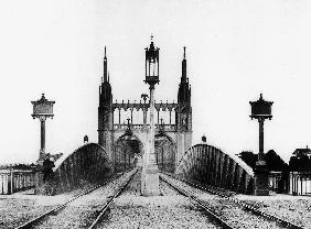 Gothic bridge and railway railroad over the Rhine in Strasbourg Alsace east of France after 1870