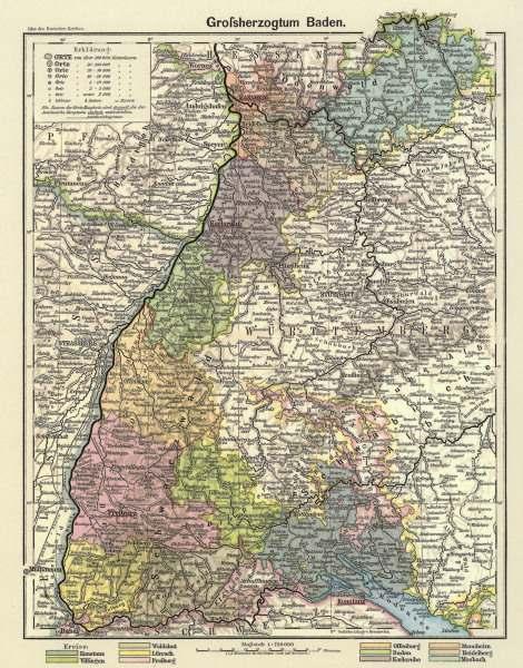 Grossherzogtum Baden Landkarte 1902 Artist Artist Als