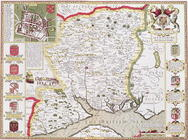 Hantshire, engraved by Jodocus Hondius (1563-1612) from John Speed's 'Theatre of the Empire of Great 16th-