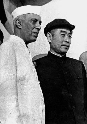 Indian Prime Minister Nehru with chinese Chu en Lai in New Delhi June 29, 1