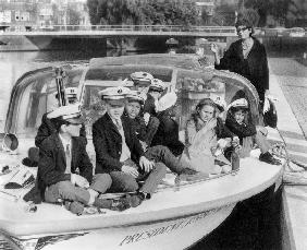Josephine Baker and her children on a boat in Amsterdam October 5,