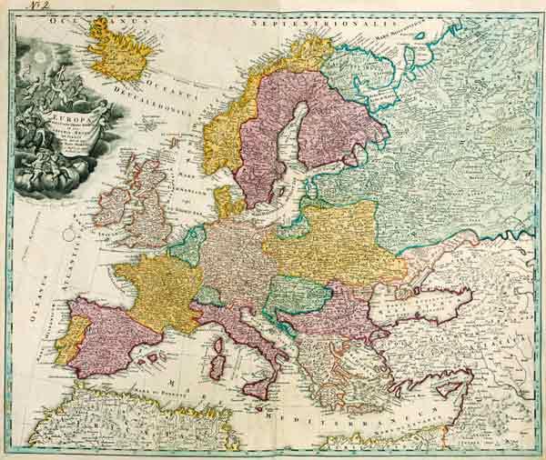 landkarte europa um 1720 artist artist als kunstdruck oder handgemaltes gem lde. Black Bedroom Furniture Sets. Home Design Ideas