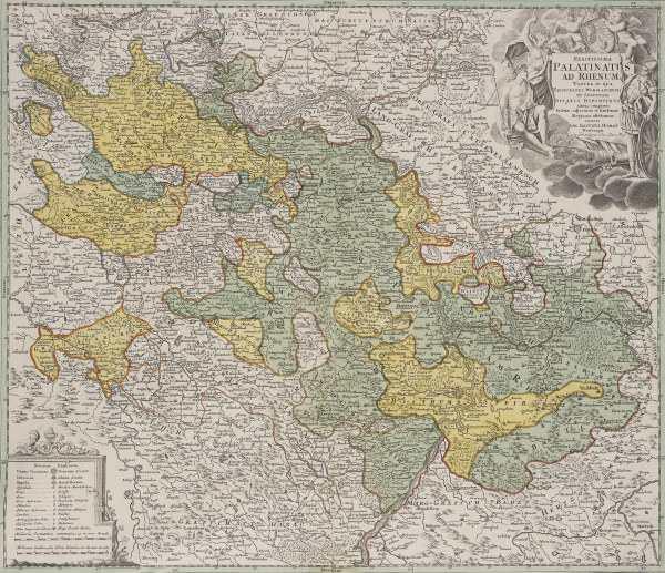 landkarte der rheinpfalz um 1710 artist artist. Black Bedroom Furniture Sets. Home Design Ideas