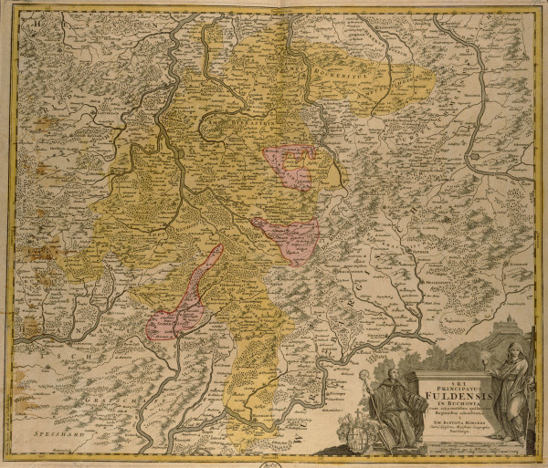 landkarte f rstbistum fulda um 1700 artist artist als kunstdruck oder handgemaltes gem lde. Black Bedroom Furniture Sets. Home Design Ideas