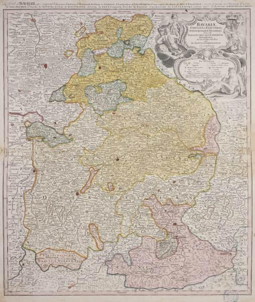 landkarte von bayern um 1710 artist artist als kunstdruck oder handgemaltes gem lde. Black Bedroom Furniture Sets. Home Design Ideas