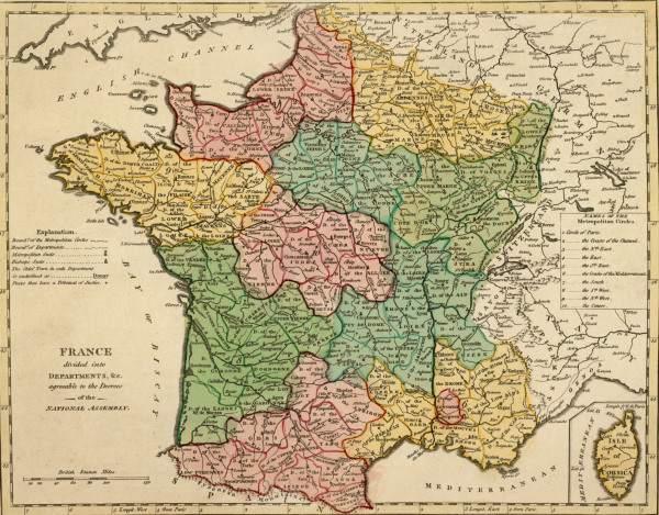 landkarte von frankreich 1794 artist artist als kunstdruck oder handgemaltes gem lde. Black Bedroom Furniture Sets. Home Design Ideas