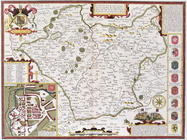 Leicester, engraved by Jodocus Hondius (1563-1612) from John Speed's 'Theatre of the Empire of Great 19th