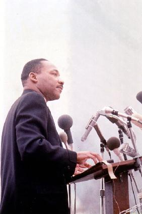 Martin Luther King American priest activist for Civil Right Movement black Americans c. 1965