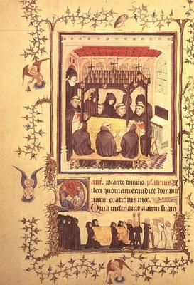 Nouv Lat 3093 f.104 Monks taking prayers by the Parement Master and his workshop, French 20th