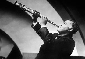 New Orleans jazzman Sidney Bechet here playing the soprano saxophone in the 40'