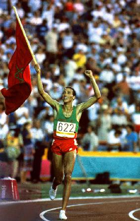 Olympic Games in Los Angeles: Moroccan athlet Said Aouita win the 5000m 1984