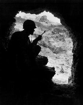 Pacific Front during Okinawa battle: US Marines sights on a Japanese Sniper April-June